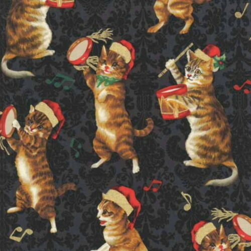 Hoffman Punch Studio Christmas Kitties J9239-46 Black w//Gold Metallic BTY