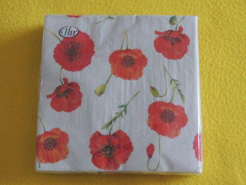20 Servietten Klatschmohn Mohn Blumen 1 Packung OVP Poppy POLLY LINEN IHR