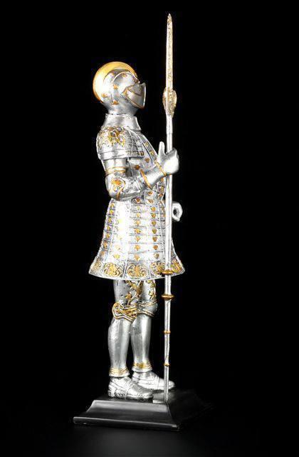 Große Ritter Figur 37 cm auf auf auf Base mit Hellebarde - Ritterrüstung Deko Statue df8573
