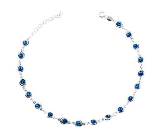 "Baby Blue Evil Eye Beads Anklet Bracelet on 925 Sterling Silver 8.5/"" to 9.5/"""
