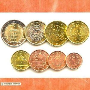 Kursmuenzensatz-San-Marino-2015-alle-8-Muenzen-1c-2-Euro-Muenze-KMS-Satz-Eurosatz