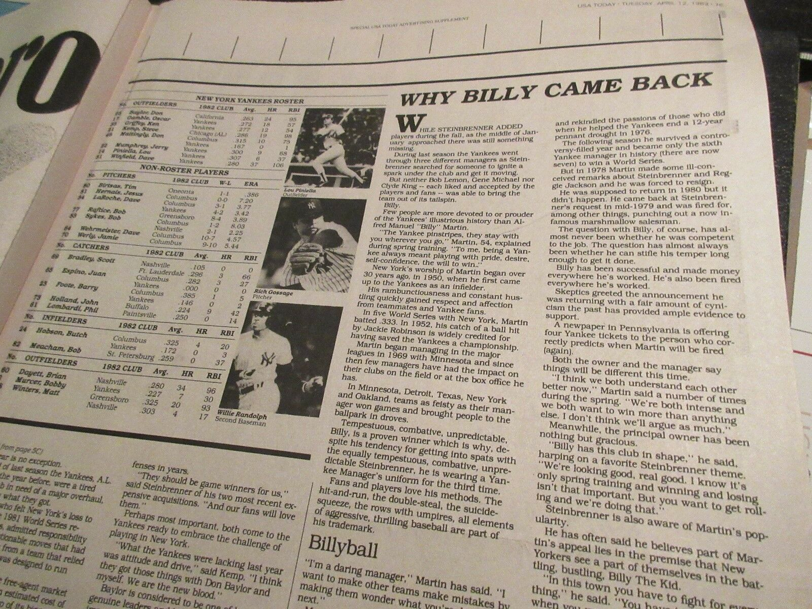 New York Yankees , USA Today Newspaper Clippings/Poster