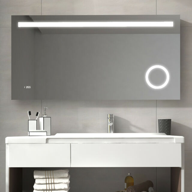 . LED Illuminated Bathroom Mirror Wall Mounted Mirror with Touch Botton  Bluetooth