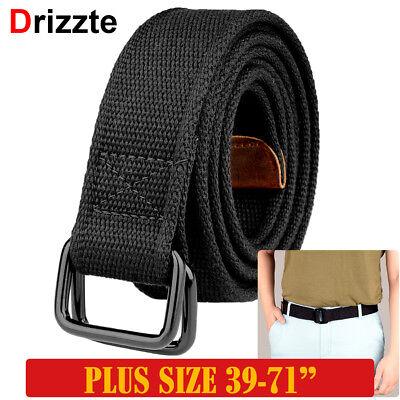 Drizzte Mens Canvas Belts Big/&Tall 39inch 75inch Men Black Cloth Belts for Men