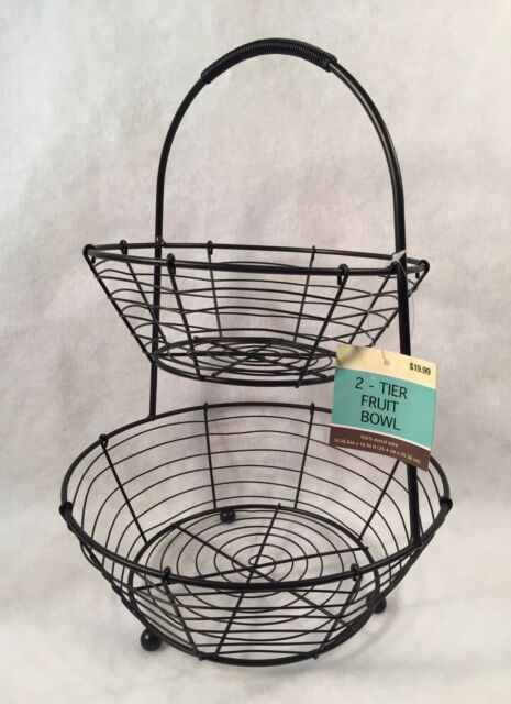 Black Metal Wire Kitchen Decor 2 Tier Fruit Bowl