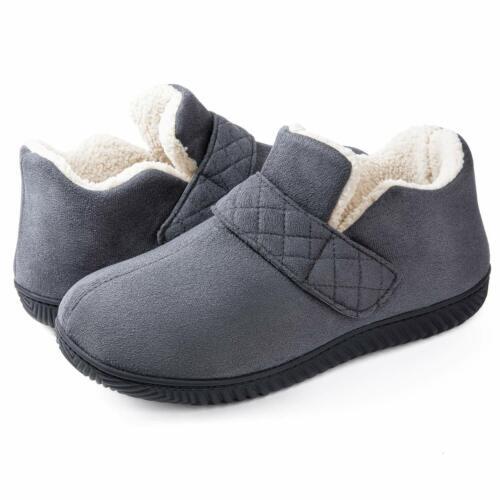 Fleece Lini ZIZOR Men/'s Cozy Memory Foam Slippers with Adjustable Closure Strap