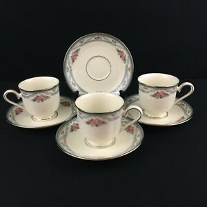 Set-of-3-Cups-and-4-Saucers-Lenox-Country-Romance-American-Home-Collection-USA