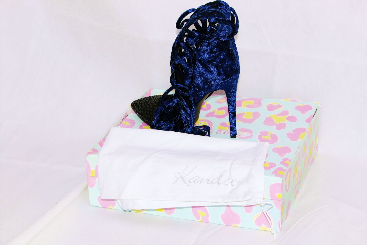 NEW KANDEE EROTIQUE DARK Blau VELVET HIGH HEELS SIZES 4, UK 4, SIZES 6,8. 4b6364