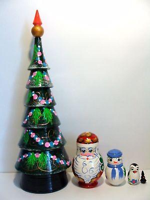 Matryoshka Doll With Russian Wooden Christmas Tree Ornaments 7 1//2 Inch Tall