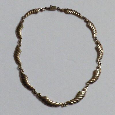 "VTG Hand made Sterling Silver ribbed link Necklace 16.75""L"