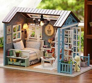 Dollhouse Blue Hut Diy Build Kit With Furniture Ebay