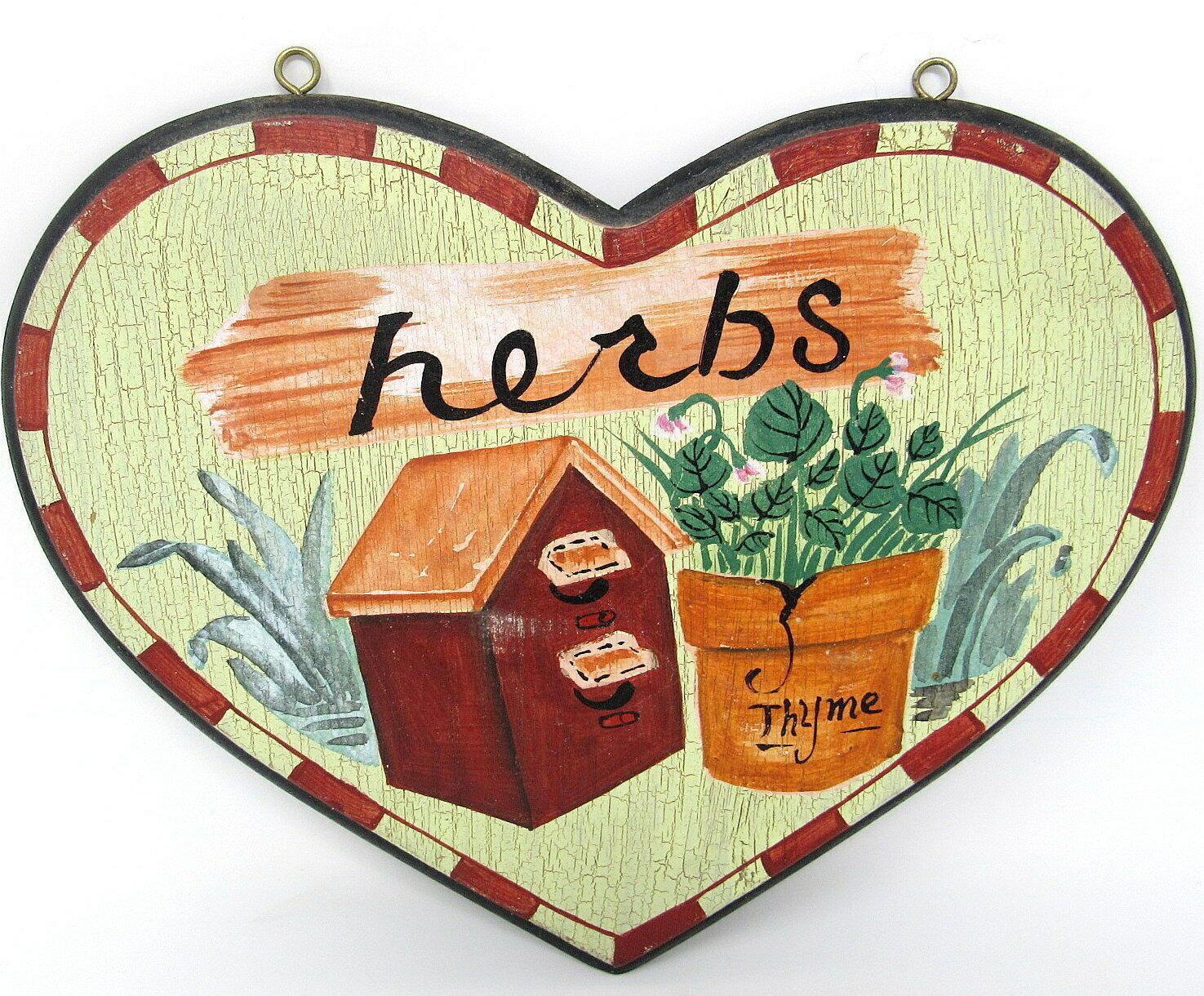 Herbs Heart Plaque Wood Thyme Birdhouse Hand Painted 10