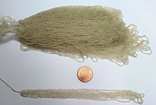 VERY RARE Antique Micro Seed Beads-18//0 Clear Warm Parchment transparent-2.4 g