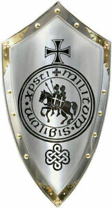 "Medieval Battle Armor Reproduction Templar Shield 36/"" Steel /& Brass Replica Gift"