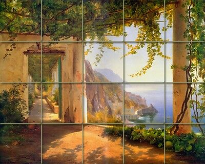 30 x 24 Aagaard Art Tumbled Marble Mural Amalfi Coast Tile #170