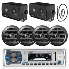 """White Pyle USB Bluetooth Boat Radio, 4 Marine 6.5"""" Speakers, 3.5"""" Box Speakers"""