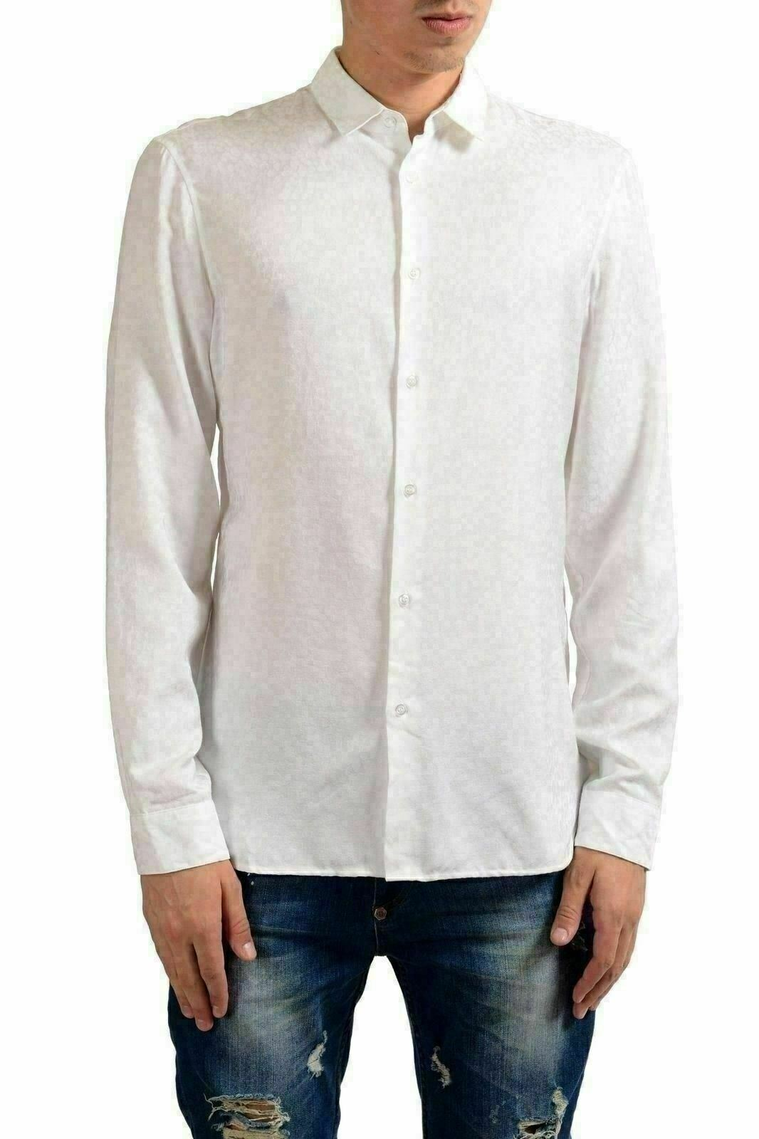 Just Cavalli White Long Sleeve Button Front Men's Casual Shirt US S IT 48