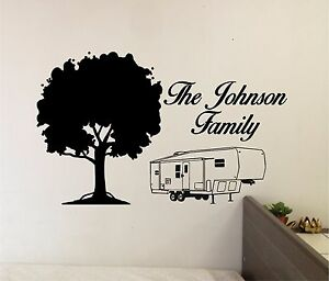 Family Name Camper Wall Sticker Vinyl Decals Art Home Decor - Wall decals art