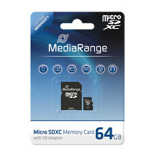 MediaRange Micro SDXC 64 GB Karte Speicherkarte mit SD Adapter Class 10