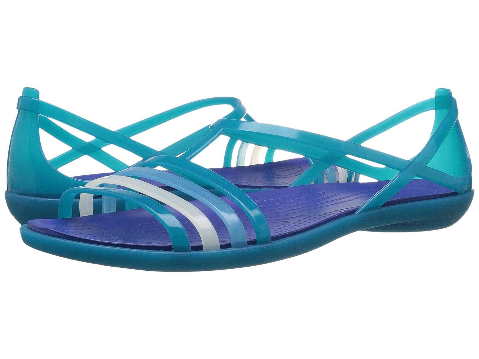 Women Crocs Isabella Flat Sandal 202465-4PI Turquoise bluee 100% Original B. New