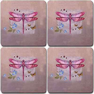 NEW SET OF 4 COASTERS PINK DRAGONFLY BAR DINING OUTDOOR