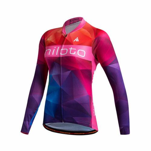 Women/'s Long Sleeve Cycling Jersey Top Reflective Ladies Bike Cycle Jersey Shirt