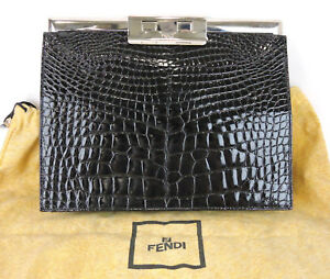Details About Authentic Fendi Genuine Crocodile Skin Black Clutch Bag Made In Italy