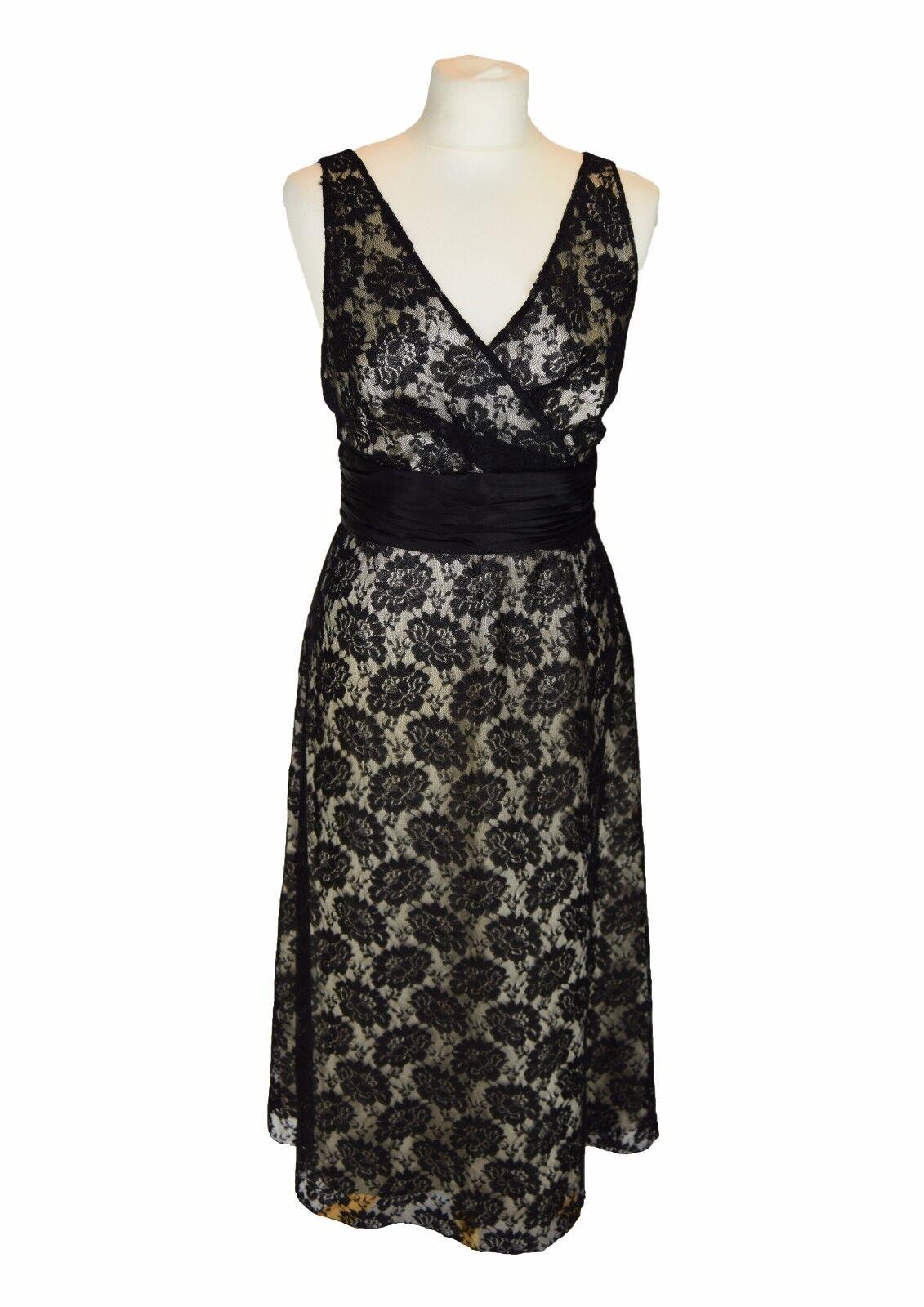 PHASE EIGHT NEW schwarz Lace Dress Dress Dress w. 100% Silk Waistband UK 14 EU 42 IT 46 7f2f32