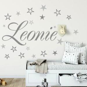 Kinderzimmer sterne grau  Wandtattoo AA120 Aufkleber Kinderzimmer Wunsch-Namen 20 Sterne Grau ...