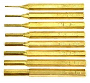 """Juste Brass Punch Pin Drive Set 1/16"""" à 5/16"""" Drift Pin Outil à Main Set 8 Poinçons-afficher Le Titre D'origine"""