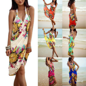 875df09f5b Women's Bohemia Halter Sling Chiffon Beach Towel Bikini Cover up ...