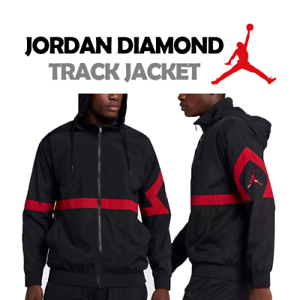3981ec2e0cc4 Image is loading JORDAN-SPORTSWEAR-DIAMOND-TRACK-JACKET-BLACK-RED-RETRO-