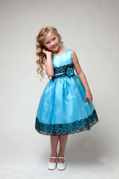 Lovely Turquoise Black Flower Girl Dress Girls Party Dress Satin Organza 2 to 6