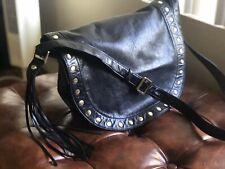 New with Tag $268 Hobo Maverick Studded Black Leather Saddle Bag