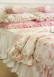 White Shabby Chic Pillow Cases : Shabby Chic Cottage Floral Quilt Duvet Cover Pillow Case Set White Pink Queen eBay
