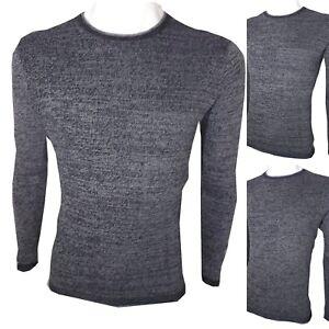 4014f08df4 Dettagli su Guy maglione uomo cotone slim fit maglia invernale pullover  girocollo blu nero