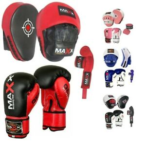 Maxx BOXING GLOVES /& LEATHER CURVED FOCUS PADS WITH FREE HAND WRAP MMA Boxing MULTI COLORS