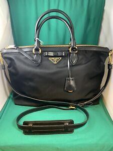 PRADA-Tessuto-Black-Nylon-Leather-Trim-Gold-Hardware-Shopping-Tote-Bag-Italy