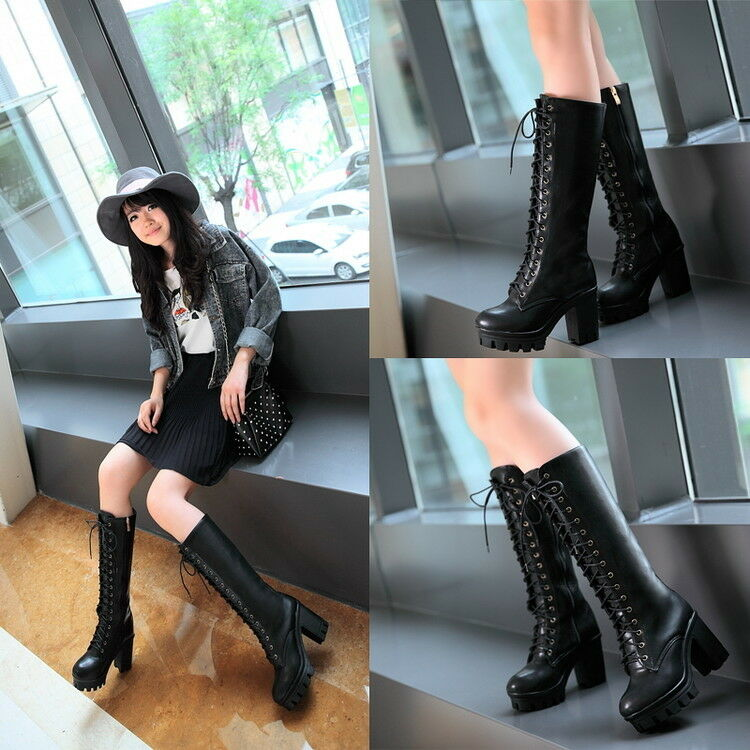 Womens Knight Boots Knee High Boots Lace Up High Chunky Heel Platform Shoes Size