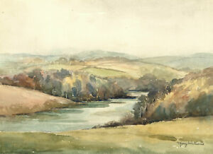 Mary-Williams-RWA-1911-2002-Mid-20th-Century-Watercolour-View-with-River