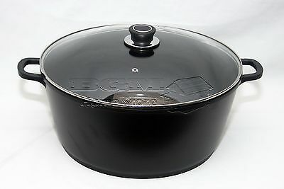 Entusiasta 36cm/11l Die Cast Antiaderente Profonda Casseruola Stock Pot Pentole Coperchio In Vetro Nero-