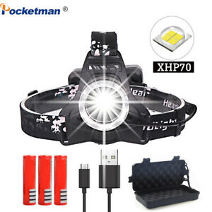 200000lm-xhp70-Led-Headlamp-Rechargeable-headlight-Head-Torch-Flashlight-18650