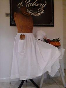 Vintage French White Homespun Apron -Woven Cotton Textile Pinny Skirt~Late c20th