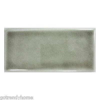 10SF- Gray Crackle Glazed Hand made Porcelain Subway Tile Wall Backsplash Pool