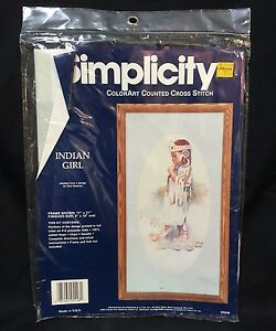 Simplicity-ColorArt-Counted-Cross-Stitch-Kit-05548-Indian-Girl-Ellie-Weakley-JCA