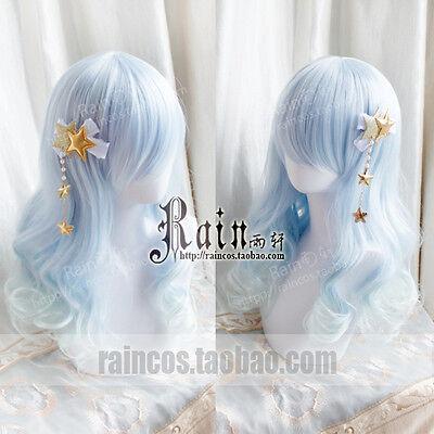Wig Cosplay Harajuku Long Sweet Lolita Gradient Daily princess Curly Fairy Blue