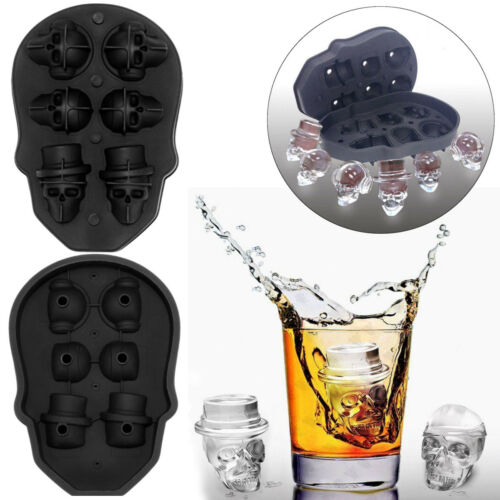 6 Grids 3D Skull Head Ice Cube Mold Whisky Wine Ice Cuber Chocolate Mould US
