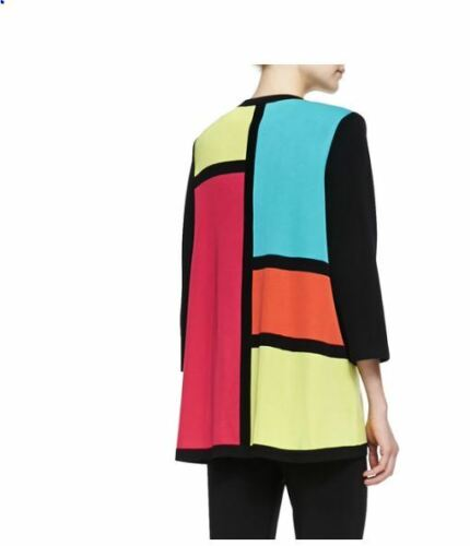 Colorblock nero Misook maniche Cardigan Misook multicolore Ps 4 3 qtAAp5w0