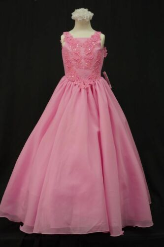 C4 Girl National Glitz PAGEANT Wedding Long Dress 3 4 5 6 7 8 10 12 14 Fuchsia