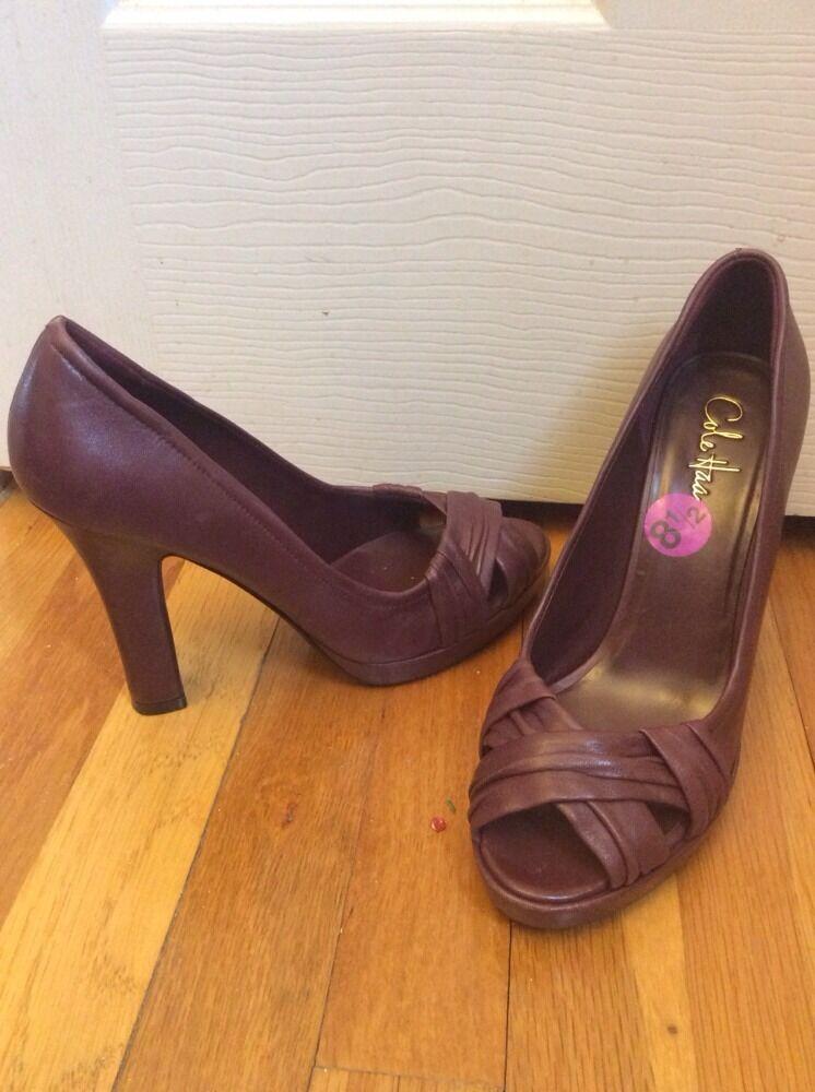 Cole Haan Genuine Pelle Open Toe Burgundy Heel Sz 9 M